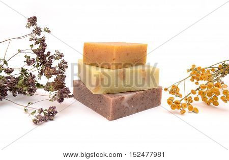 Natural soap isolated. Soap and dried flowers. Handmade soap