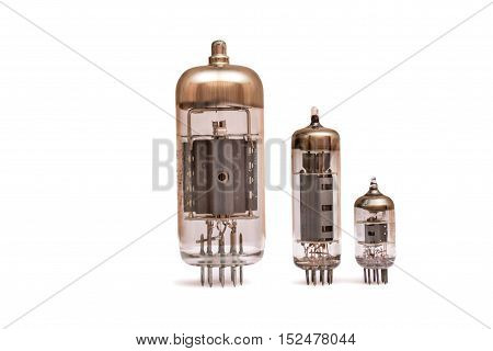 Group of old vacuum tubes isolated on the white background, radio valves.