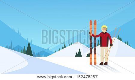 Man Ski Winter Sport Snow Mountain Background Flat Vector Illustration