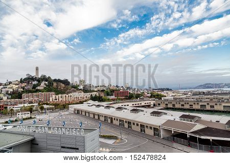 Port of San Francisco with Coit Tower in Background