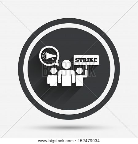 Strike sign icon. Group of people symbol. Industrial action. Holding protest banner and megaphone. Circle flat button with shadow and border. Vector