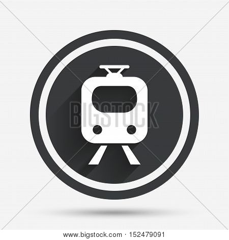 Subway sign icon. Train, underground symbol. Circle flat button with shadow and border. Vector