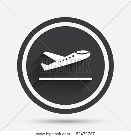 Plane takeoff icon. Airplane transport symbol. Circle flat button with shadow and border. Vector