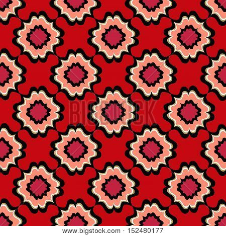 Abstract floral arabic ornament. Geometric flower checkered seamless pattern