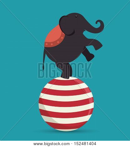 elephant acrobat on sphere festival funfair vector illustration eps 10