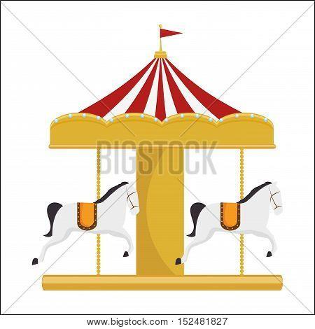 funny carousel horses vector illustration eps 10
