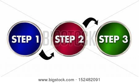 Steps 1 2 3 One Two Three Instructions Circles 3d Illustration