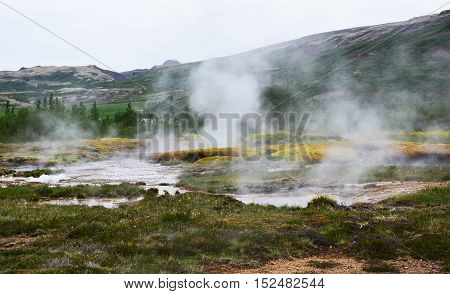Geothermal landscape in Iceland where steam rises from the ground.