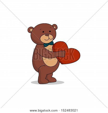 Couple lovers of teddy bears with heart in hands. Bear sheepishly from the proposal. Happy Valentines Day. Birthday party Vector illustration EPS 10