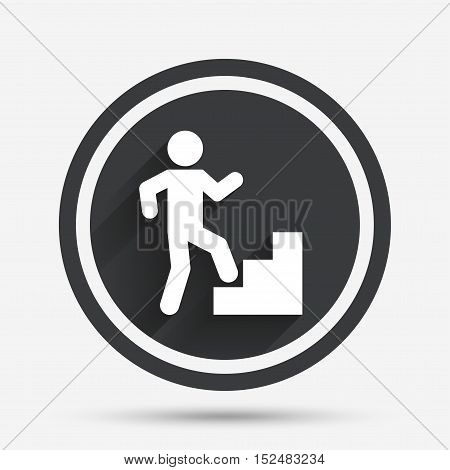 Upstairs icon. Human walking on ladder sign. Circle flat button with shadow and border. Vector