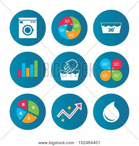 Business pie chart. Growth curve. Presentation buttons. Hand wash icon. Machine washable at 30 degrees symbols. Laundry washhouse and water drop signs. Data analysis. Vector