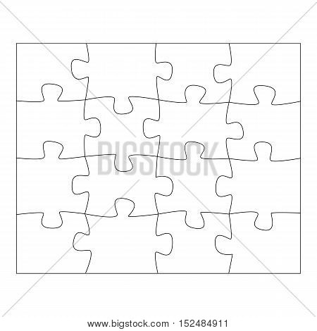 Template paper for thinking puzzles games. Business concept infographics. Puzzle pieces and jigsaw puzzle. Vector illustration EPS 10