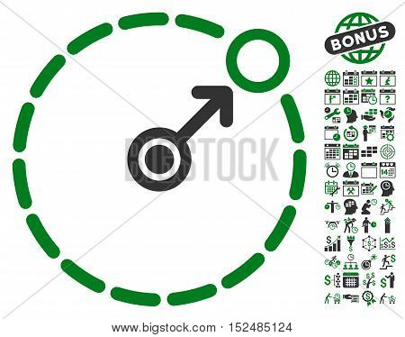 Round Area Border pictograph with bonus calendar and time service pictures. Vector illustration style is flat iconic symbols, green and gray colors, white background.