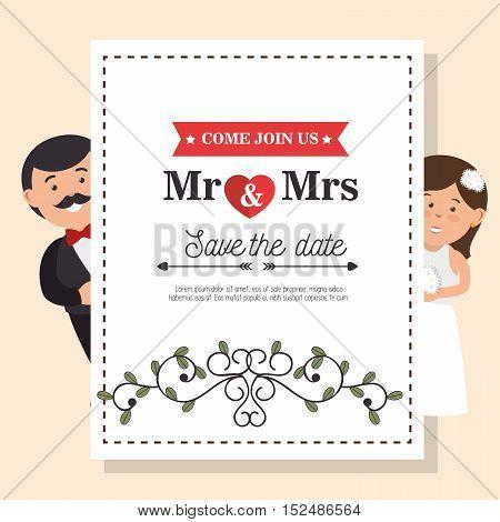 wedding card vintage mr and mrs design, vector illustration  graphic