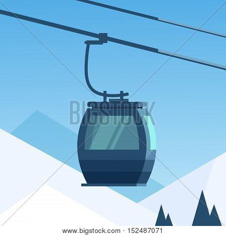 Cable Car Transportation Rope Way Over Winter Mountain Hill Background Flat Vector Illustration