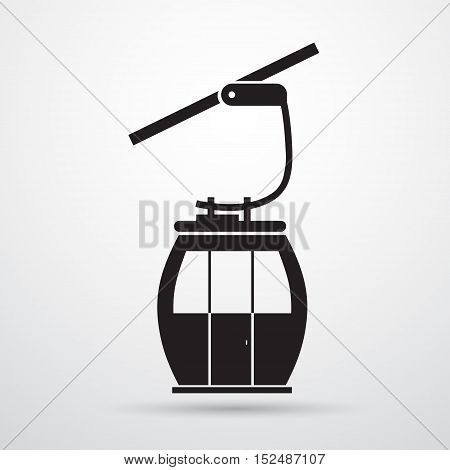 Cable Car Transportation Rope Way Silhouette Black Icon Flat Vector Illustration