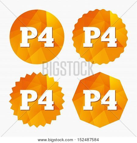 Parking fourth floor sign icon. Car parking P4 symbol. Triangular low poly buttons with flat icon. Vector poster