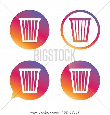 Recycle bin sign icon. Bin symbol. Gradient buttons with flat icon. Speech bubble sign. Vector