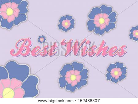 best wishes greeting card with flowers in mauve