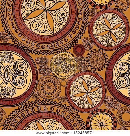 Floral native pattern. Abstract geometric circle ornament. Lacy tan line ornamental background