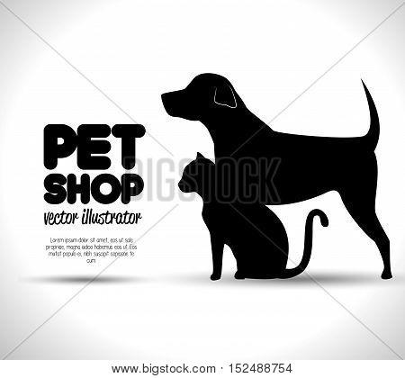 pet shop concept emblem dog and cat silhouette vector illustration eps 10