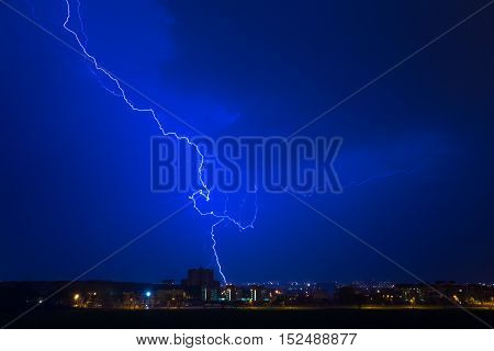 Lightning hits the house rain, storm bright