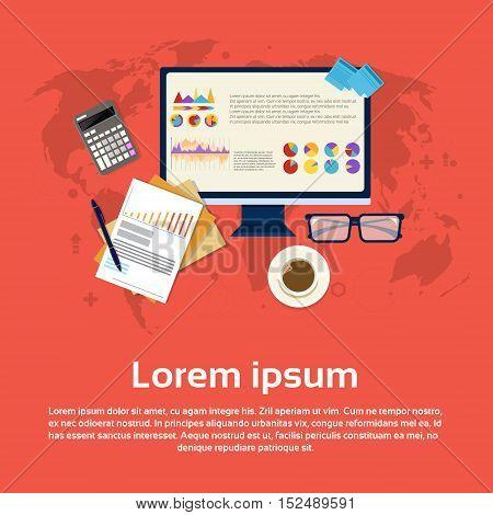 Calculator Accountant Analysis Computer Finance Diagram Web Banner Flat Vector Illustration