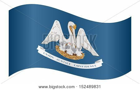 Louisianian official flag symbol. American patriotic element. USA banner. United States of America background. Flag of the US state of Louisiana waving on white background vector