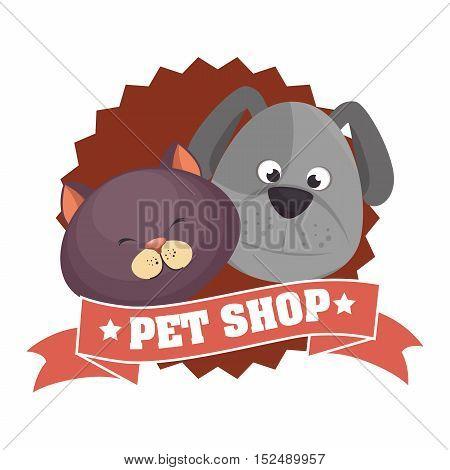 cute cartoon doggy cat pet shop ribbon vector illustration eps 10