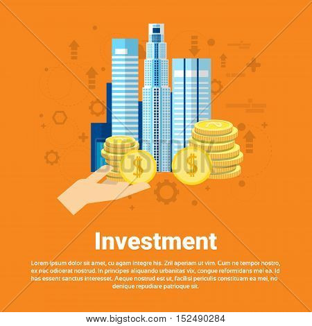 Investment Money Investor Business Web Banner Flat Vector Illustration
