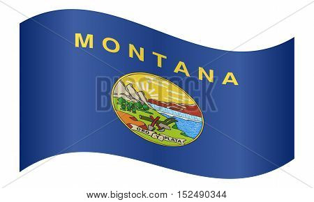 Montanan official flag symbol. American patriotic element. USA banner. United States of America background. Flag of the US state of Montana waving on white background vector