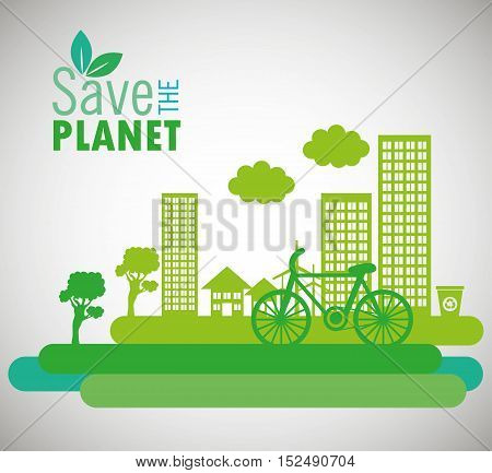 lets save the world environmental city and bike design vector illustration