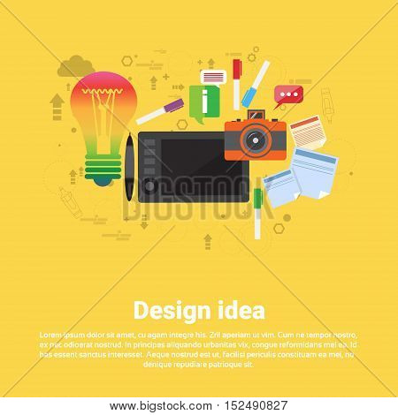 Design Idea Graphic Designer Drawing Icon Web Banner Flat Vector Illustration