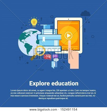 Explore Learning Training Courses Education Web Banner Flat Vector Illustration