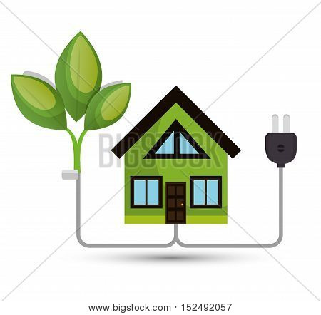 environmental concept house tree energy vector illustration
