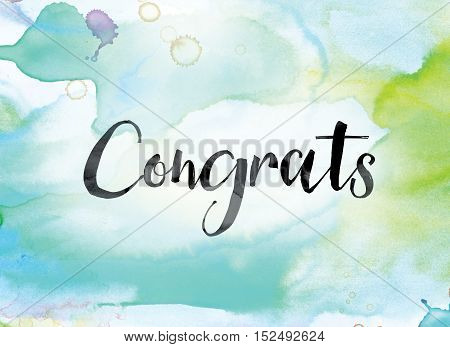 Congrats Colorful Watercolor And Ink Word Art