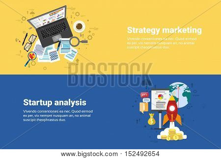 Strategy Marketing Plan, Startup Analysis Financial Business Web Banner Flat Vector Illustration