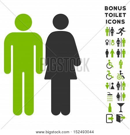 Married Couple icon and bonus man and lady toilet symbols. Vector illustration style is flat iconic bicolor symbols, eco green and gray colors, white background.