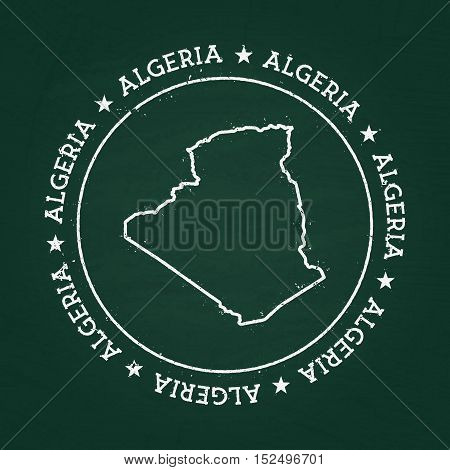 White Chalk Texture Rubber Seal With People's Democratic Republic Of Algeria Map On A Green Blackboa