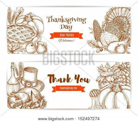 Thanksgiving greeting banners, greeting cards set. Celebration posters with sketched decoration of harvest cornucopia, roasted turkey, vegetables harvesting. Traditional thanksgiving meal design