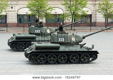 MOSCOW - MAY 6: Russian T34 tanks in rehearsal during 65th anniversary of Victory in Great Patriotic War Military Parade at Red Square  on May 6, 2010 in Moscow.