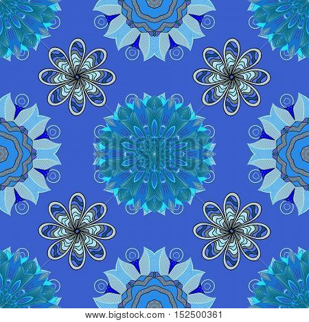 Blue lace. Round lace pattern on an azure background
