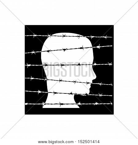Vector sign prisoner behind barbed wire in balck