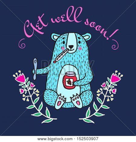 Get well soon card with teddy bear and jam. Vector illustrated card.