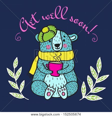 Get well soon card with teddy bear. Vector illustrated card.