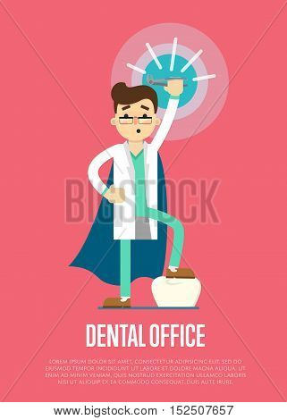 Male cartoon dentist in medical uniform and superhero blue cape holding dental pliers on perpl background, vector illustration. Dental office banner. Tooth care and restoration, treatment and hygiene. Super dentist. Dentis poster.