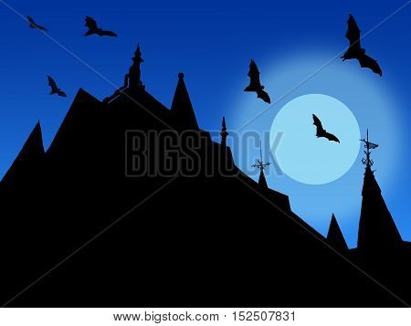 halloween background with silhouettes of castle roofs with weather vanes and flying bats on moon and sky background
