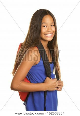 Cute Filipino Girl on a White background  wearing a tank top and a backpack. She has a big happy smile.