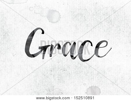 "The word ""Grace"" concept and theme painted in watercolor ink on a white paper. poster"