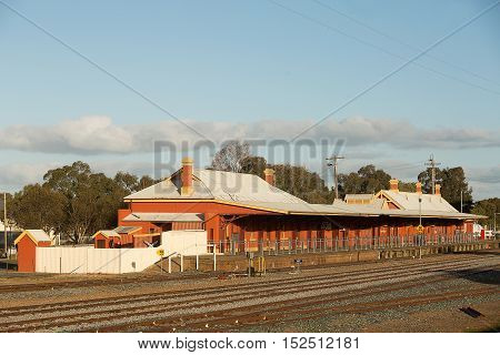 Railway station building and platform in country town of Temora, New South Wales, Australia